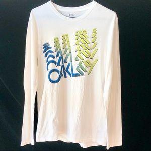 Oakley White Long Sleeve Tee w/Blue & Green Logo